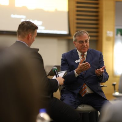 University of Florida President Kent Fuchs talks with participants during the 2020 spring SEC Academic Leadership Development Program workshop.