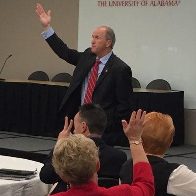 University of Alabama President Stuart Bell talks with SEC ALDP participants during the 2016 fall workshop in Tuscaloosa.