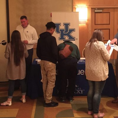 University of Kentucky admissions representatives talk to local high school students and their parents during the 2016 Spring SEC College Tour in Westchester, NY.