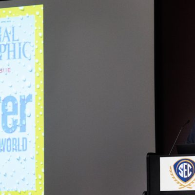 Dennis Dimick, former executive editor at National Geographic magazine, provides a keynote address at the 2017 SEC Academic Conference on the future of water.
