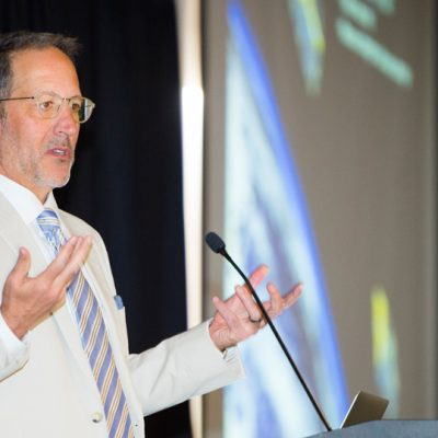Jay Famiglietti, senior water scientist at the NASA Jet Propulsion Laboratory, gives keynote remarks at the 2017 SEC Academic Conference on the future of water.