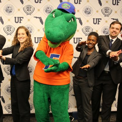 The University of Florida team poses with Albert the Alligator following the 2017 SEC MBA Case Competition in Gainesville.