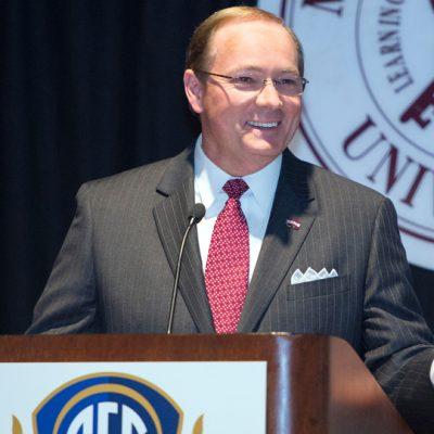 Mississippi State University President Mark Keenum provides keynote remarks during the 2017 spring SEC ALDP workshop.