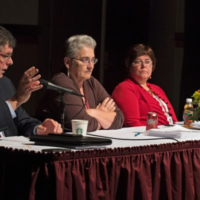 (From left) Dr. Morris Stocks (University of Mississippi), Dr. Karan Watson (Texas A&M University), Dr. Jane Cassidy (Louisiana State University) and Dr. Judy Bonner (Mississippi State University) participate in an SEC Provosts panel during the 2017 spring workshop at Mississippi State.