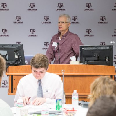 David Carlson, Dean of the Texas A&M University Libraries, welcomes 2015 SEC Academic Collaboration Award event participants to College Station.
