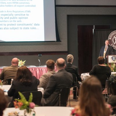 SEC ALDP attendees listen to a presentation on cyber security during the 2017 spring workshop at Mississippi State University.