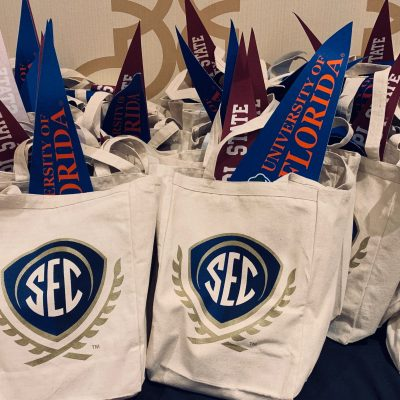 Materials bags prepared by SEC admissions and enrollment professionals for local school counselors who attended the 2019 Fall SEC College Tour in the Southwest.