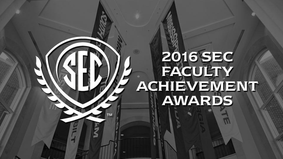 SEC Faculty Achievement Award winners receive a $5,000 honorarium from the Southeastern Conference and become his or her university's nominee for the SEC Professor of the Year Award