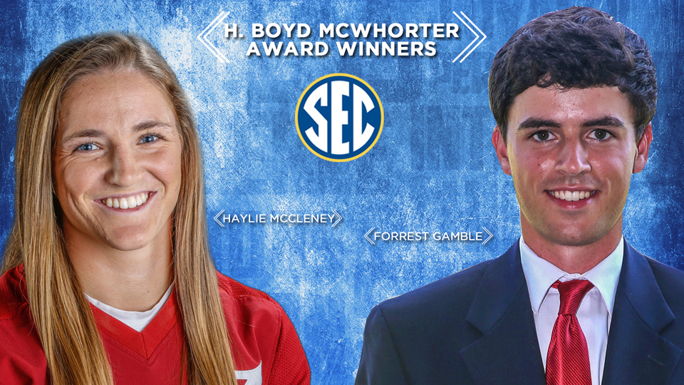 University of Mississippi golfer Forrest Gamble and Alabama softball player Haylie McCleney are the 2015-16 Southeastern Conference H. Boyd McWhorter Scholar-Athletes of the Year