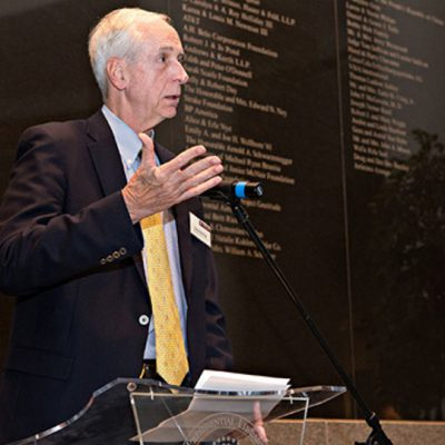 Hunter Rawlings, President of the Association of American Universities (AAU), speaks to the 2014-15 SEC Academic Leadership Development Program cohort during the spring 2015 workshop at Texas A&M University.