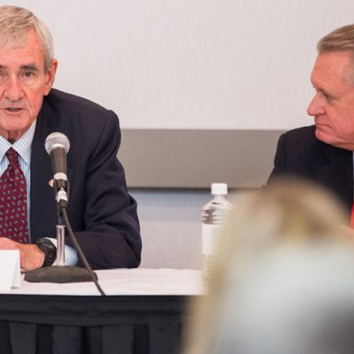 Dr. Dan Ferritor and Dr. Dave Gearhart, former chancellors at the University of Arkansas, talk to SEC ALDP participants during the fall 2015 workshop at Arkansas.
