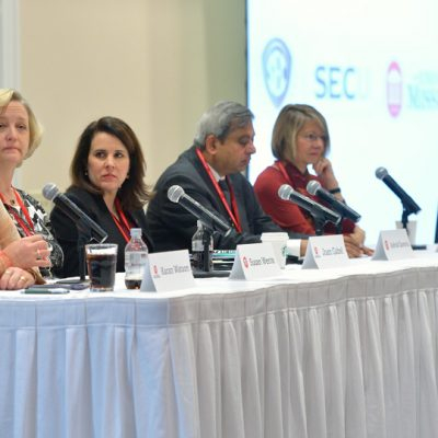 (From left) Dr. Karan Watson (Texas A&M), Dr. Susan Wente (Vanderbilt), Joan Gabel (South Carolina), Dr. Ashok Saxena (Arkansas), Dr. Susan Martin (Tennessee) and Dr. Morris Stocks (Ole Miss) participate in a SEC Provosts panel discussion at the spring 2016 workshop at Ole Miss.