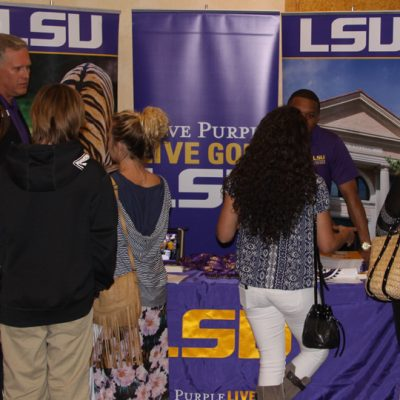 Louisiana State University admissions representatives talk with high school students and their parents during the 2014 Spring SEC College Tour in Santa Monica, CA.
