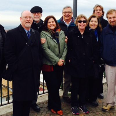 Auburn University faculty and administrators pose for a picture during a site visit to the Politecnico di Torino in Italy.