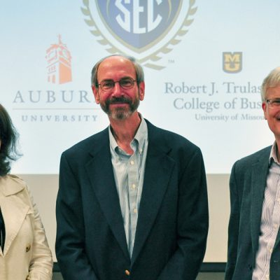 Dr. Steve Swidler (center) from Auburn University pictured with Joan Gabel (left), former Dean of the Trulaske College of Business at the University of Missouri, and Dr. Dan French (right) during a 2015 SEC Faculty Travel Program visit.