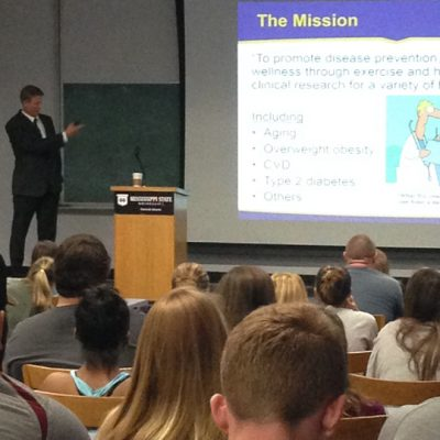 Louisiana State University's Dr. Neil Johannsen gives a lecture to Mississippi State University students and faculty during a 2015 SEC Faculty Travel Program visit.
