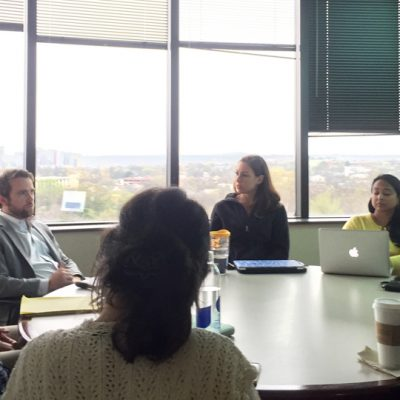 Dr. Geoffrey Coalson presents his research to Vanderbilt Ph.D. candidates during a 2016 SEC Faculty Travel Program visit.