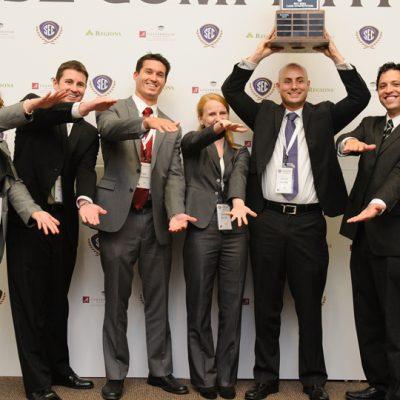 The University of Florida celebrates winning the 2014 SEC MBA Case Competition at the University of Alabama.