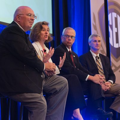(From left) Auburn University Provost Dr. Tim Boosinger, University of Georgia Provost Dr. PamelaWhitten, Former Mississippi State University Provost Dr. Jerry Gilbert and Louisiana State University Provost Dr. Rick Koubek participate in the SEC Provosts Panelat the 2015 SEC Symposium.