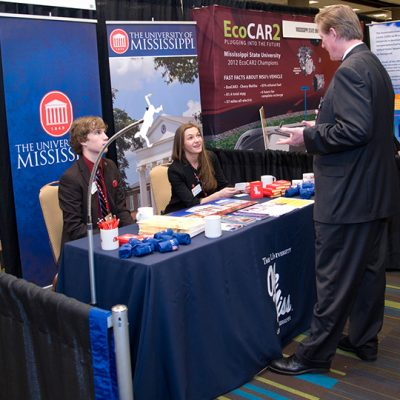 The University of Mississippi booth at the SEC University Showcasein 2013.