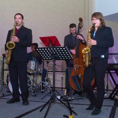 The SEC student music ensemble provides entertainment during the 2016 SEC Legends Dinner.