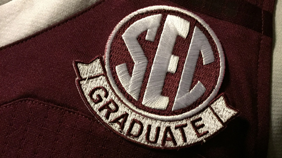 The SEC Graduate patch was first worn by the Arkansas football team during the Razorbacks' opening game on September 3 and is being introduced by other SEC members throughout the fall semester.