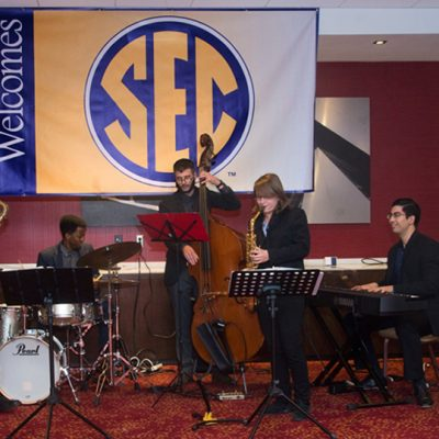 The SEC student music ensemble plays at the reception prior to the 2016 SEC Legends Dinner.
