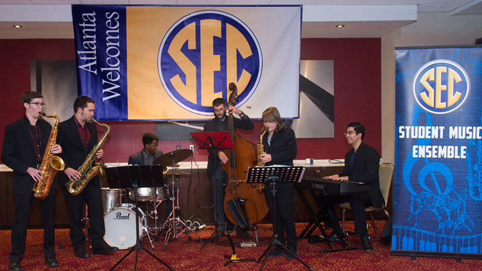 The SEC student music ensemble performs at the reception prior to the annual SEC Legends Dinner.