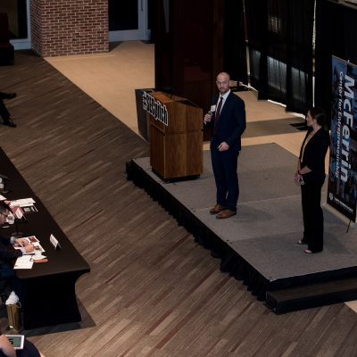 Jacob Hurrell and Kristen Rivers from the University of Missouri present Roo Storage during the 2018 SEC Student Pitch Competition at Texas A&M University.