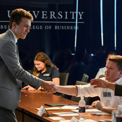 Elezar Tonev from the University of Florida thanks the panel of judges after presenting Sourse during the 2019 SEC Student Pitch Competition at Auburn University.