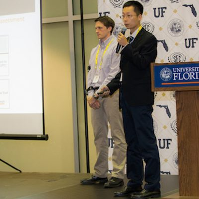 The Auburn team pitches its idea during the final round of the 2017 SEC Student Pitch Competition at the University of Florida.
