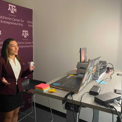 Texas A&M University's Stephanie Young, who finished in second place, presents during the virtual 2020 SEC Student Pitch Competition.