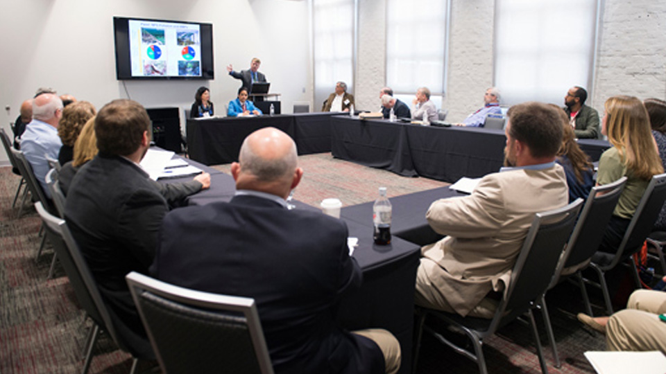 SEC Academic Conference attendees take part in a breakout session on Tuesday afternoon.