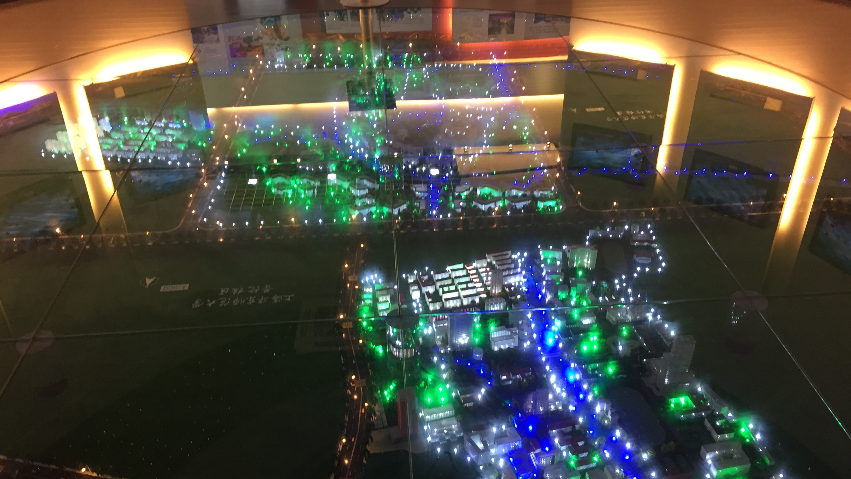 A lighted 3-D presentation of the original and current East China Normal University campus in Shanghai.