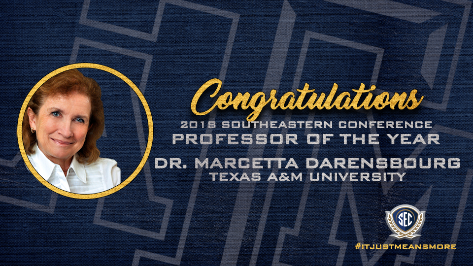 Dr. Marcetta Darensbourg, Distinguished Professor of Chemistry at Texas A&M University, is the 2018 SEC Professor of the Year.