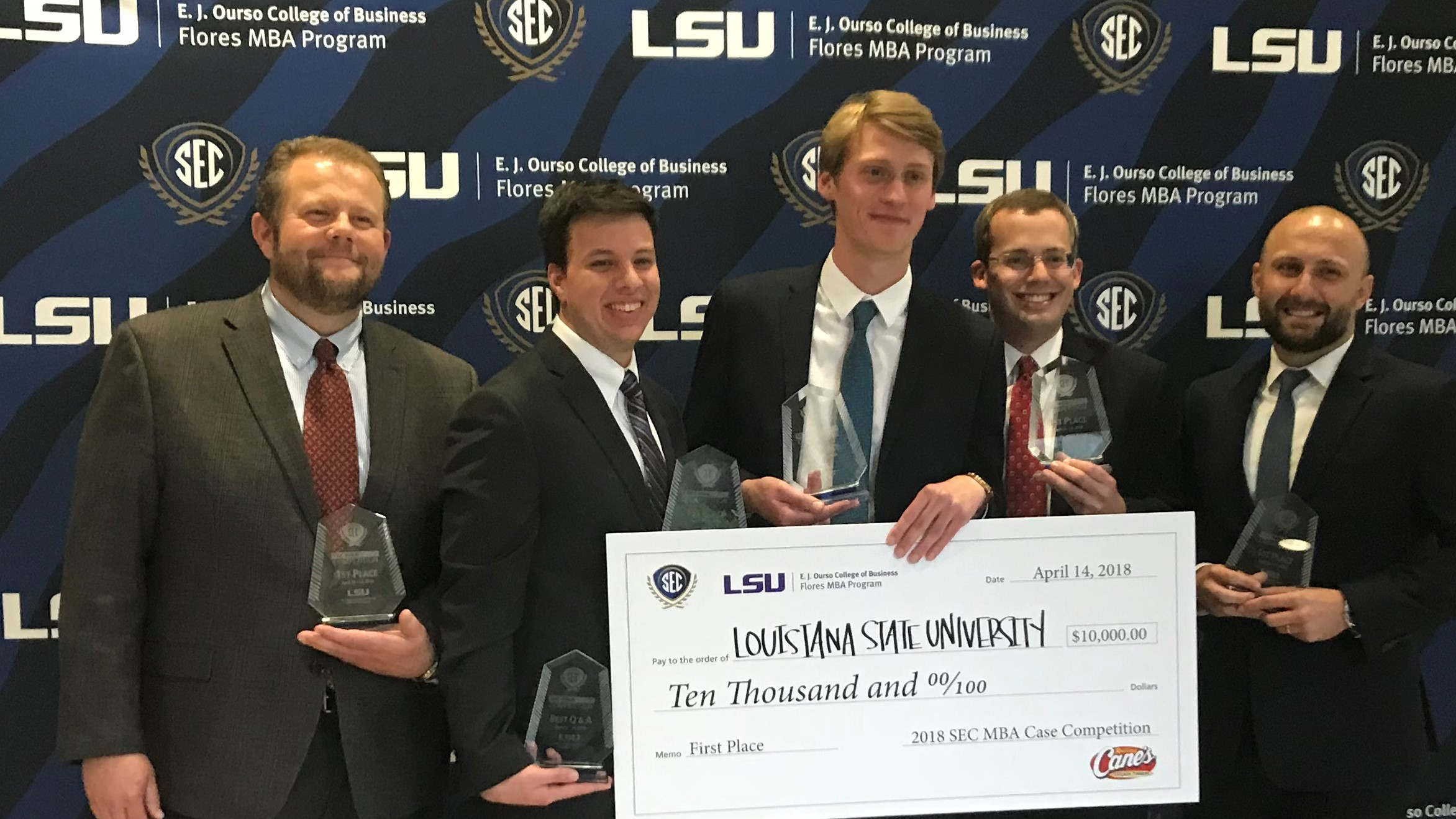 Members of the LSU team following the 2018 SEC MBA Case Competition. It was the first title for the Tigers.