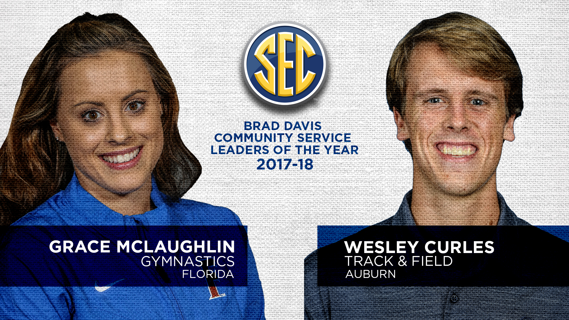 Florida's McLaughlin, Auburn's Curles Named Brad Davis SEC Community Service Award Winners