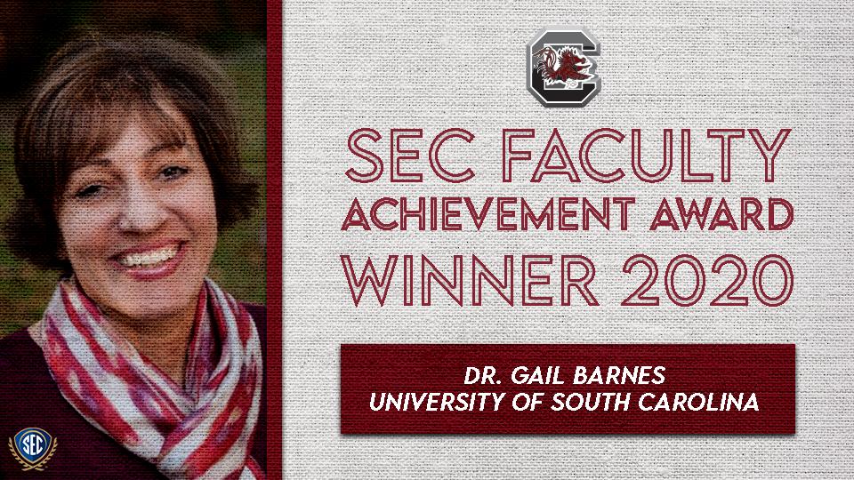 Dr. Gail Barnes Wins SEC Faculty Achievement Award