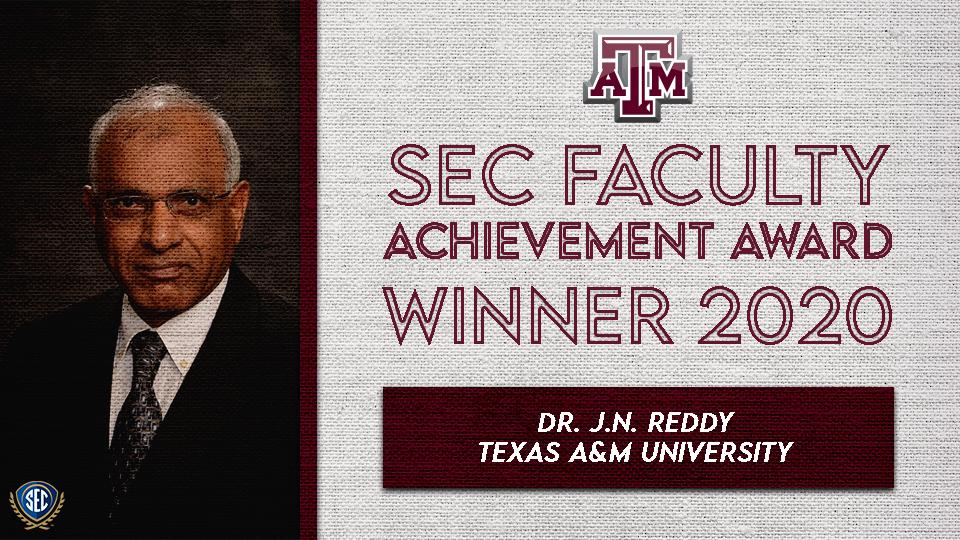 Dr. J.N. Reddy Wins SEC Faculty Achievement Award