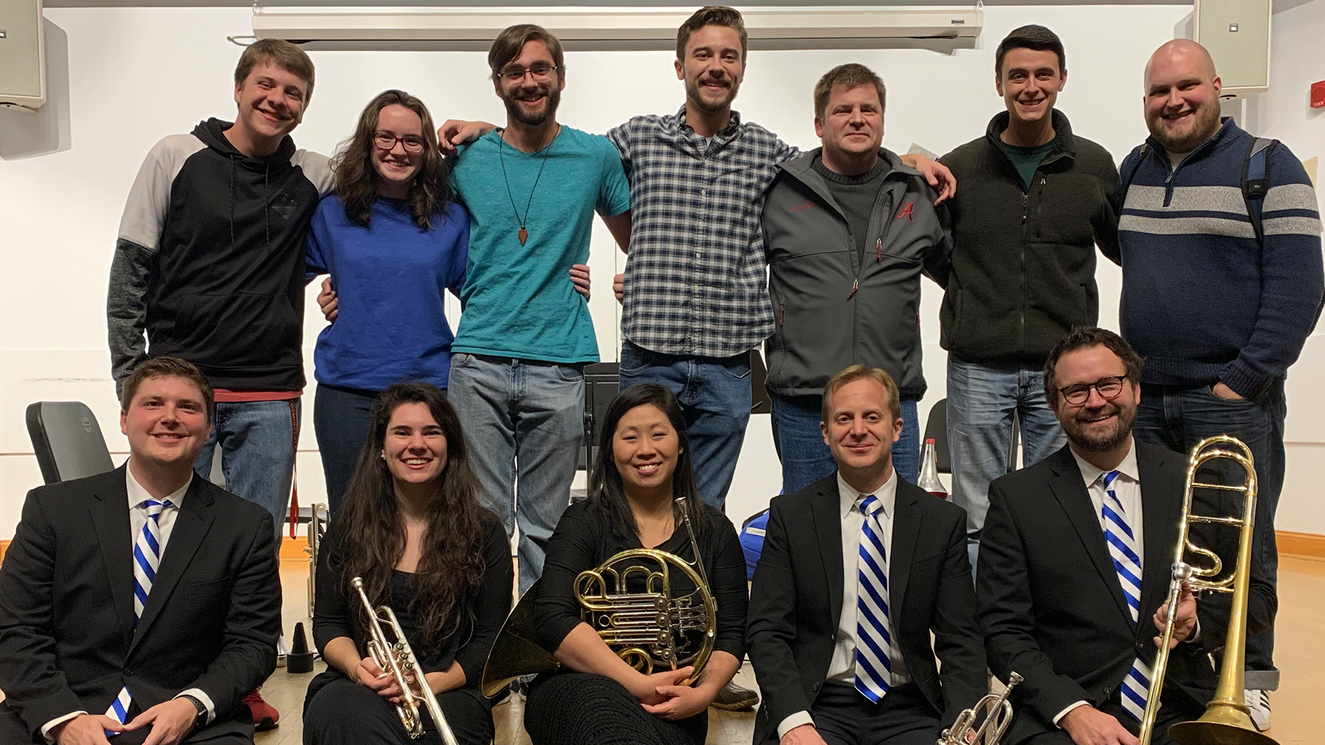 University of Kentucky Brass Quintet visiting University of Alabama students and faculty in 2019.
