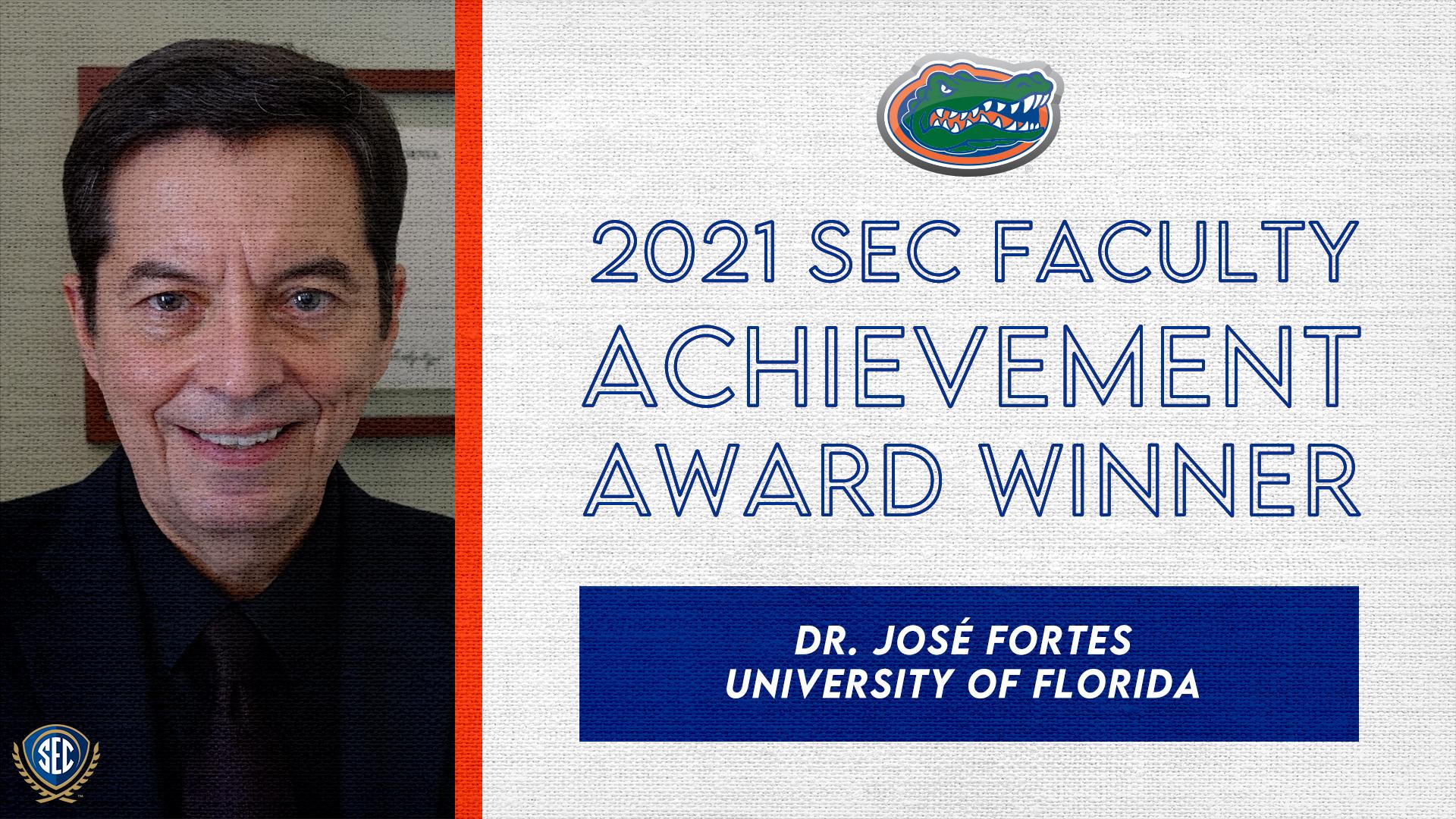 SEC Announces Dr. José Fortes Wins 2021 Faculty Achievement Award for University of Florida